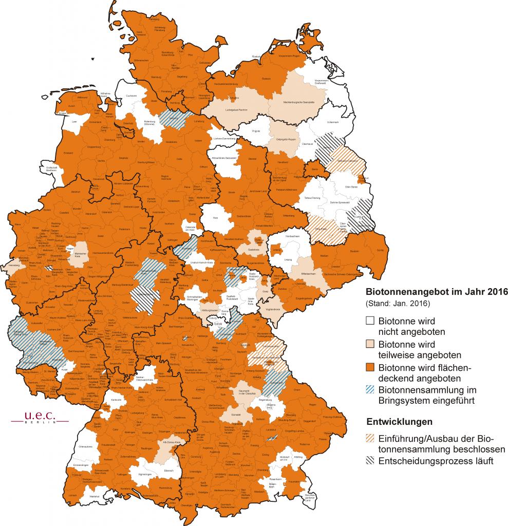 Bioabfallsammlungen in Detuschland (Stand Januar 2016) - Grafik: u.e.c. Berlin