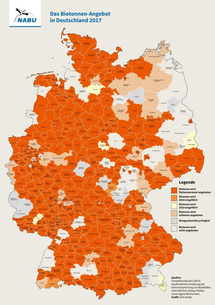 Umsetzung der Biotonne in den Landkreisen 2017 -Grafik: NABU