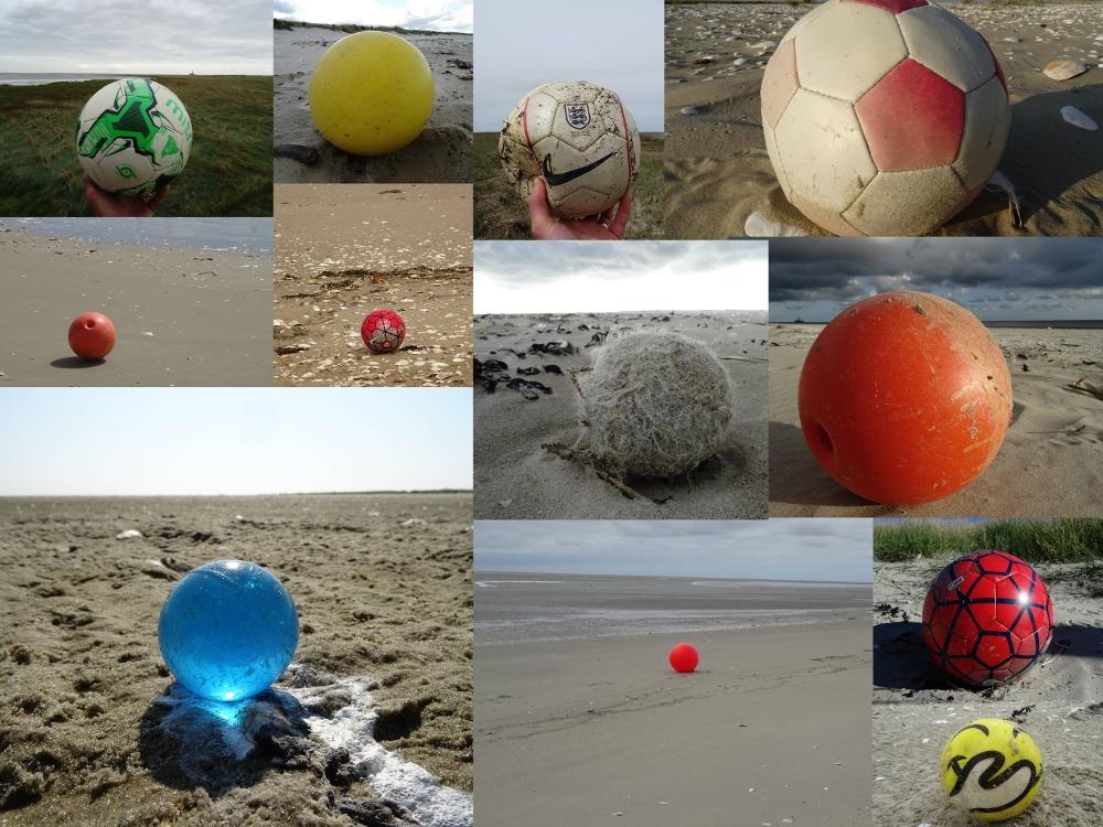 Fußbälle, Gummibälle, Tennisbälle, ... man findet sie alle am Strand.