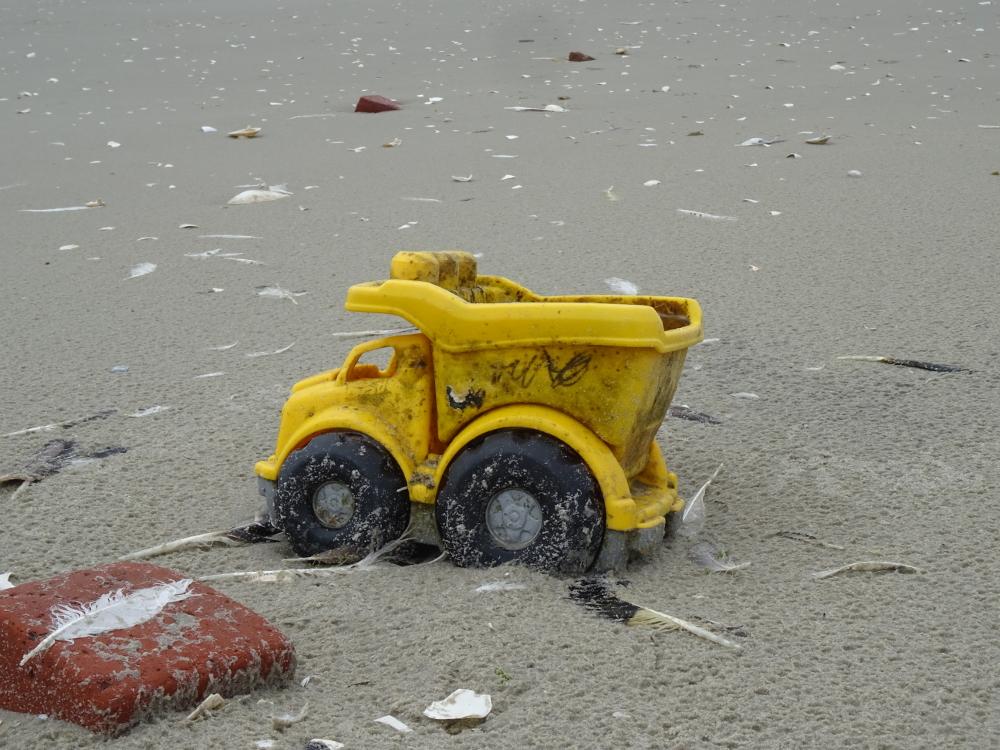Schweres Gerät auf Trischen - mit diesem Bagger hätten wohl so einige Sandburgen gebaut werden können...