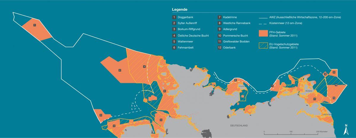 Das Schutzgebietsnetzwerk Natura 2000. 45 Prozent der deutschen Nord- und Ostsee stehen unter Schutz (Karte: NABU).