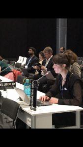 Katharina Ruffer spricht auf der COP in Madrid.