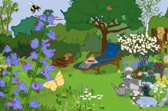 Insektenfreundlicher Garten. Grafik: Jule Roschlau