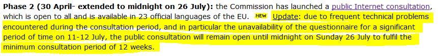 Ankündigung der Verlängerung durch die EU-Kommission.