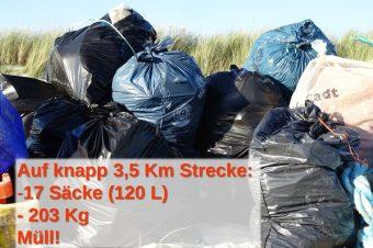 Insgesamt rund 200 Kg Müll sammelte ich auf Trischen ein.